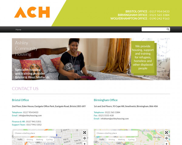 Screenshot of Ashley Community Housing - Contact Us