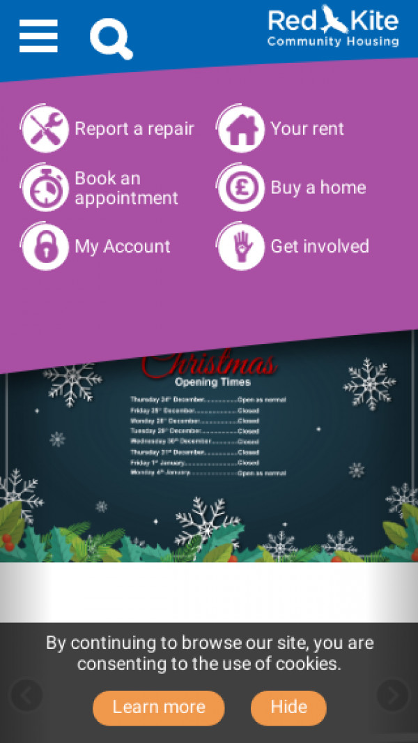 Mobile screenshot of Red Kite Community Housing Limited website