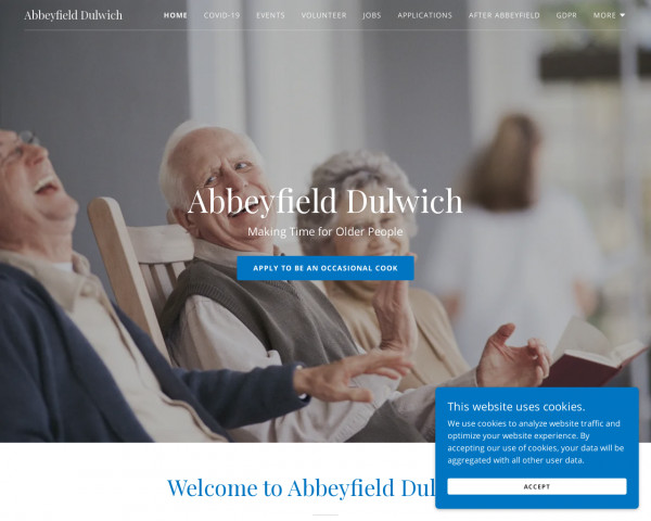 Desktop screenshot of The Abbeyfield Dulwich Society Limited website