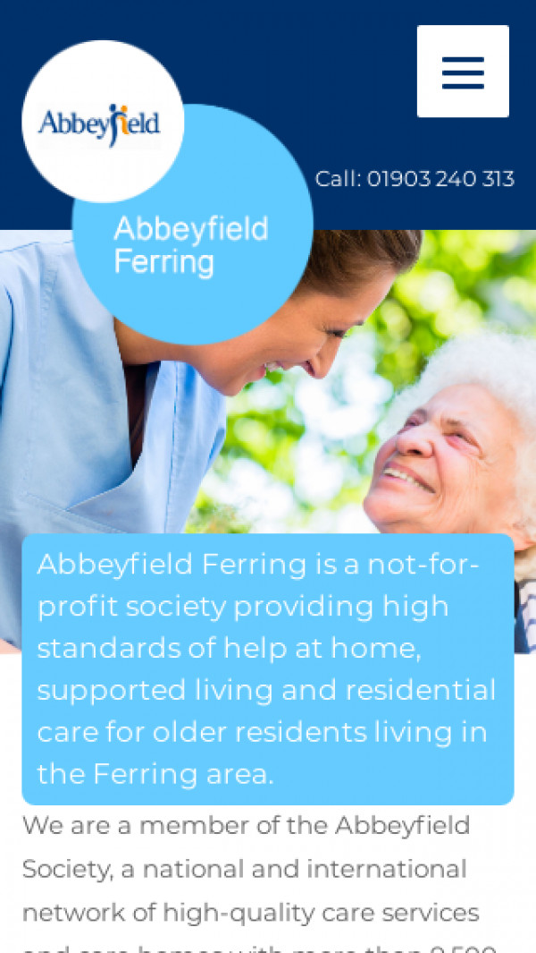 Mobile screenshot of The Abbeyfield Ferring Society Limited website