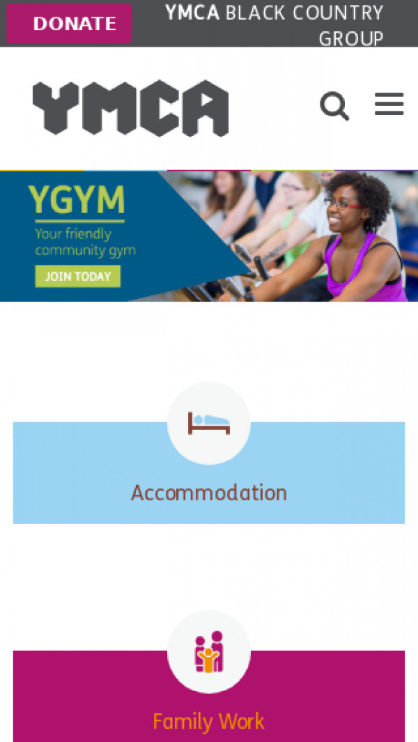 Mobile screenshot of YMCA Black Country Group website