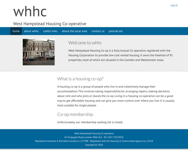 Desktop screenshot of West Hampstead Housing Co-operative Limited website