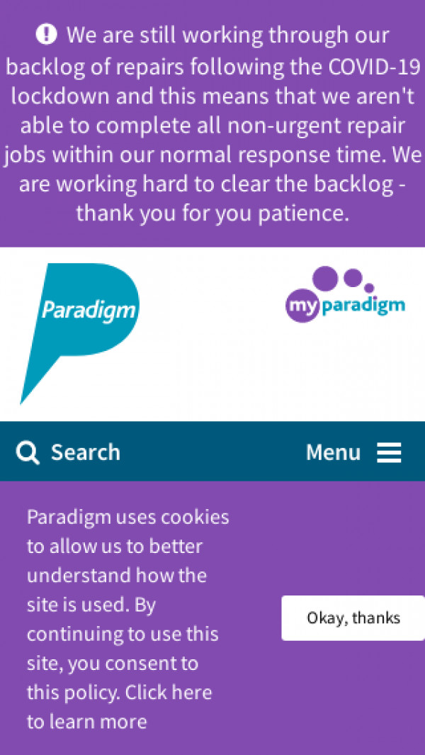 Mobile screenshot of Paradigm Homes Charitable Housing Association Limited website