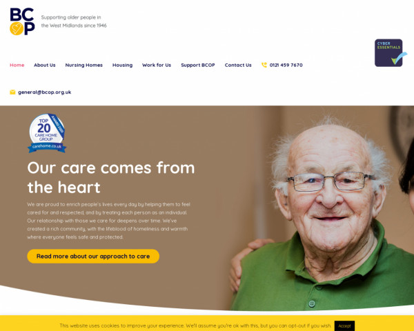 Screenshot of Nursing care and housing for older people in Birmingham.