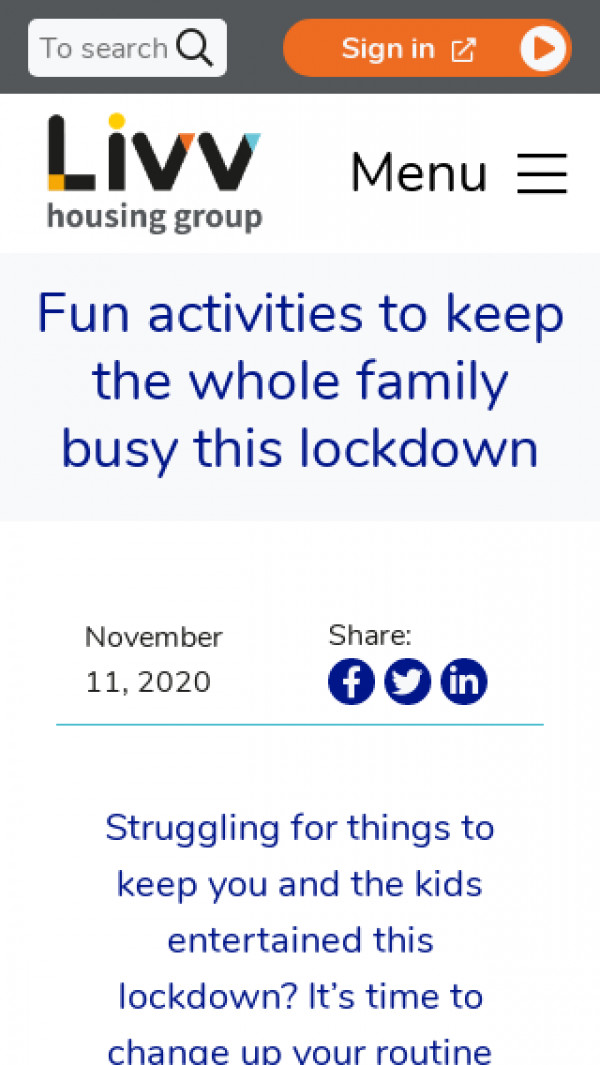 Screenshot of Fun activities to keep the whole family busy this lockdown - Livv