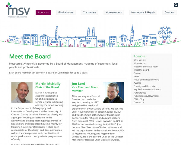 Screenshot of Meet the Board | About us | Mosscare St Vincent�s