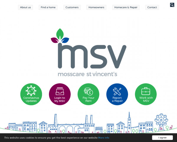 Screenshot of Mosscare St Vincent's Housing - Managing over 8,000 properties across the North West to rent or buy