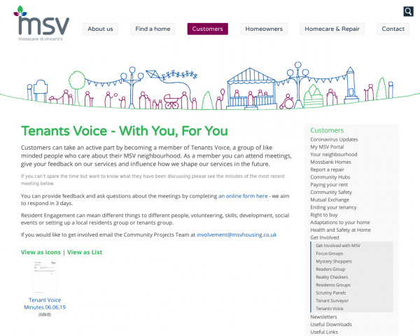 Screenshot of Tenants Voice | Get Involved | Customers | MSV Housing