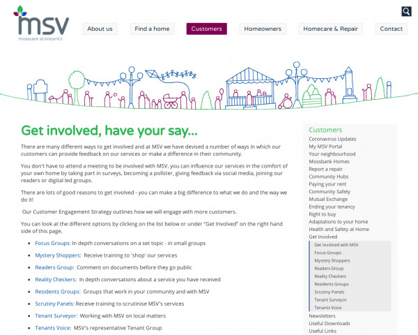 Screenshot of Get Involved | Tenants | Mosscare St Vincent�s
