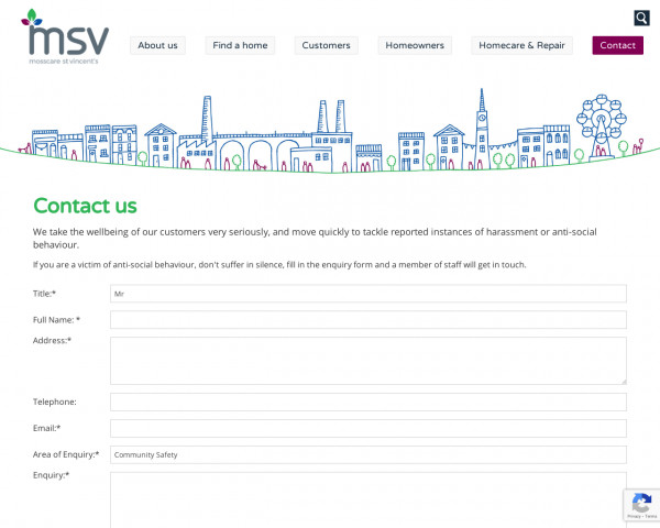 Screenshot of Get in Touch | Mosscare St Vincent�s