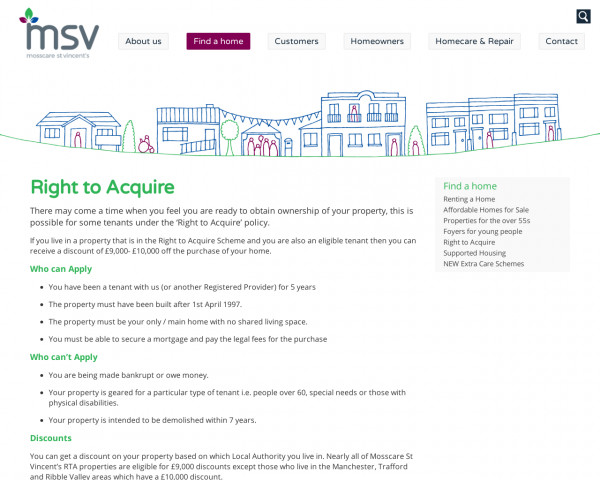 Screenshot of Right to Acquire | Find a home | Mosscare St Vincent�s