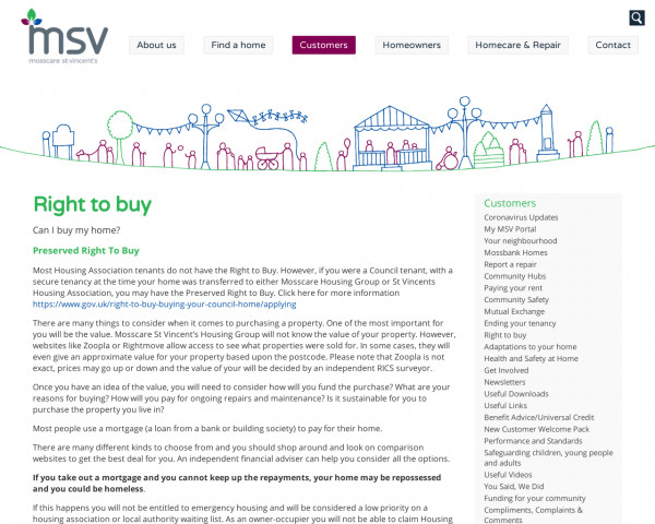 Screenshot of Right to buy | Tenants | Mosscare St Vincent�s
