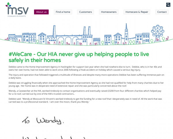 Screenshot of #WeCare - Our HIA never give up helping people to live safely in their homes - MSV Housing