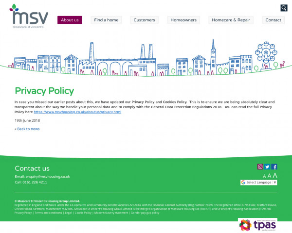 Screenshot of Privacy Policy - MSV Housing