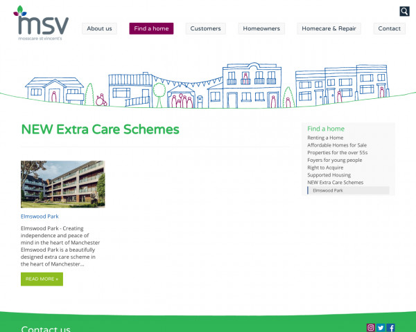 Screenshot of NEW Extra Care Schemes | Find a home | MSV Housing