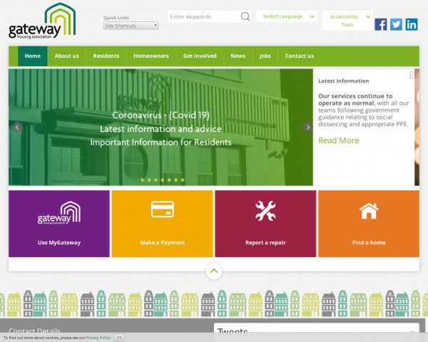 Desktop screenshot of Gateway Housing Association Limited website