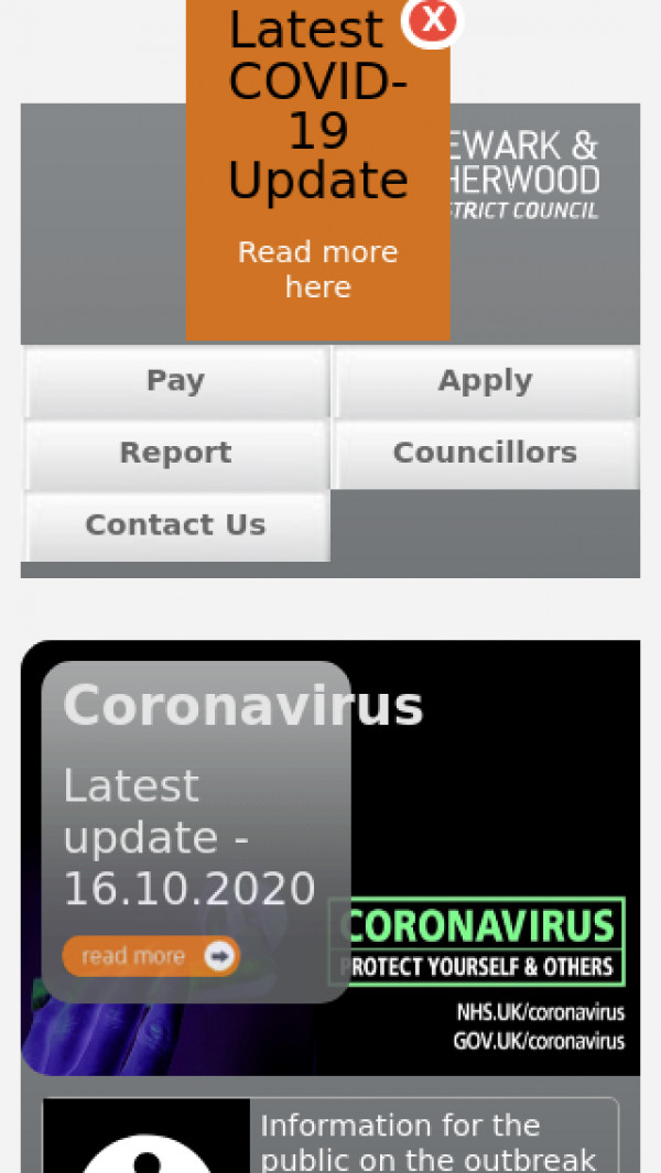 Mobile screenshot of Newark and Sherwood District Council website