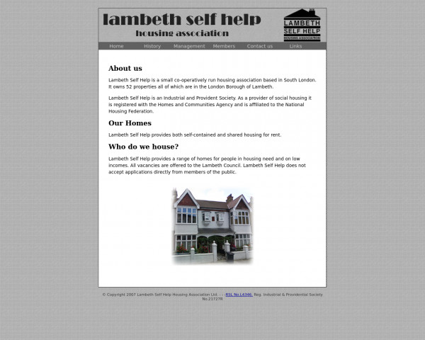 Desktop screenshot of Lambeth Self Help Housing Association Limited website
