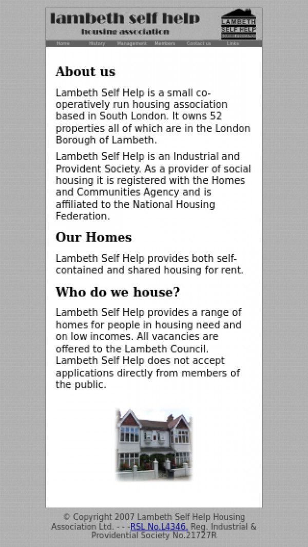 Mobile screenshot of Lambeth Self Help Housing Association Limited website