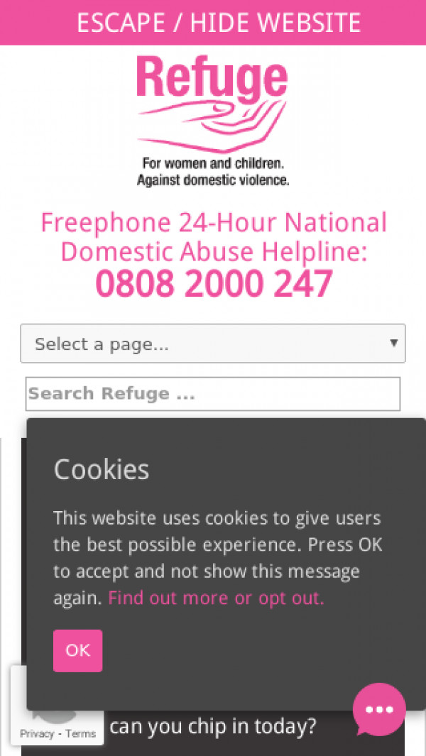 Mobile screenshot of Refuge website