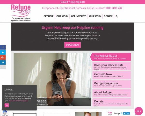 Desktop screenshot of Refuge website