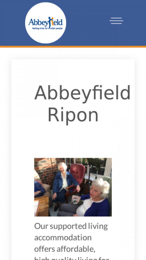 Mobile screenshot of The Abbeyfield (Ripon and District) Society Ltd website