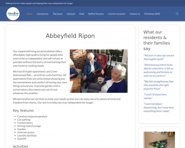 Desktop screenshot of The Abbeyfield (Ripon and District) Society Ltd website
