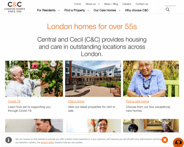 Desktop screenshot of Central and Cecil Housing Trust website