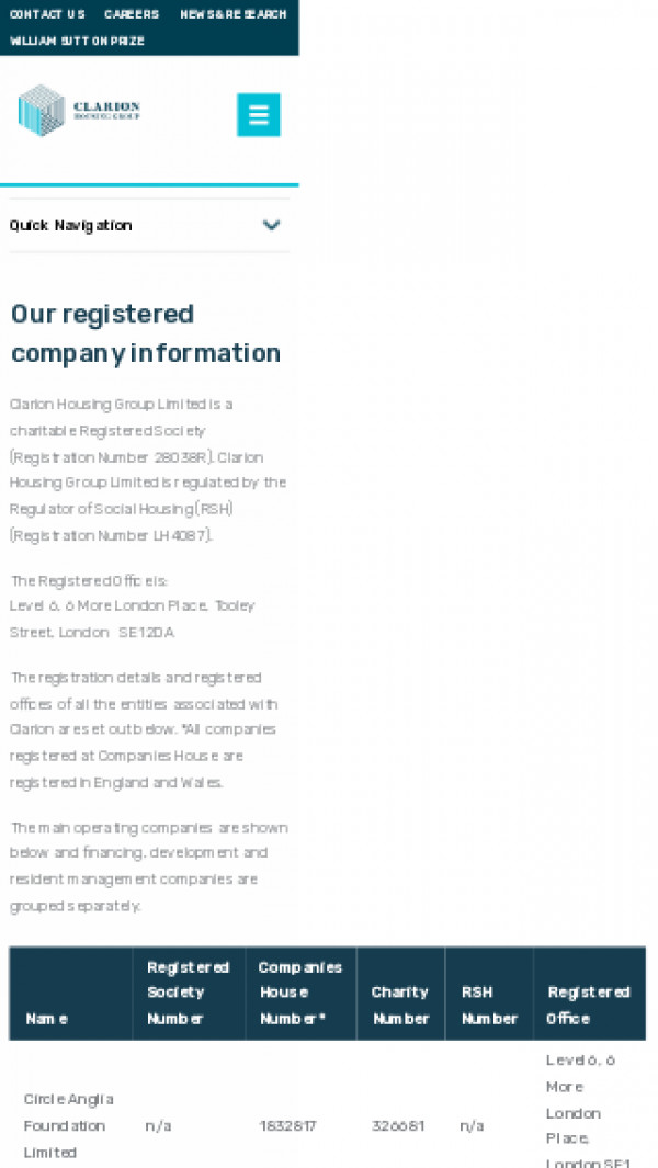 Screenshot of Registered Company Information | Clarion Housing Group