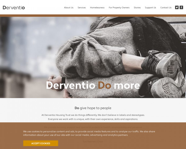 Screenshot of Housing and support for people facing homelessness - Derventio