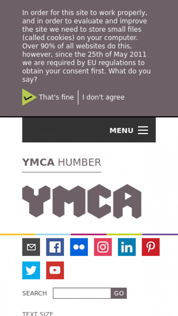Mobile screenshot of Grimsby,Cleethorpes and Humber Region Y.M.C.A. website
