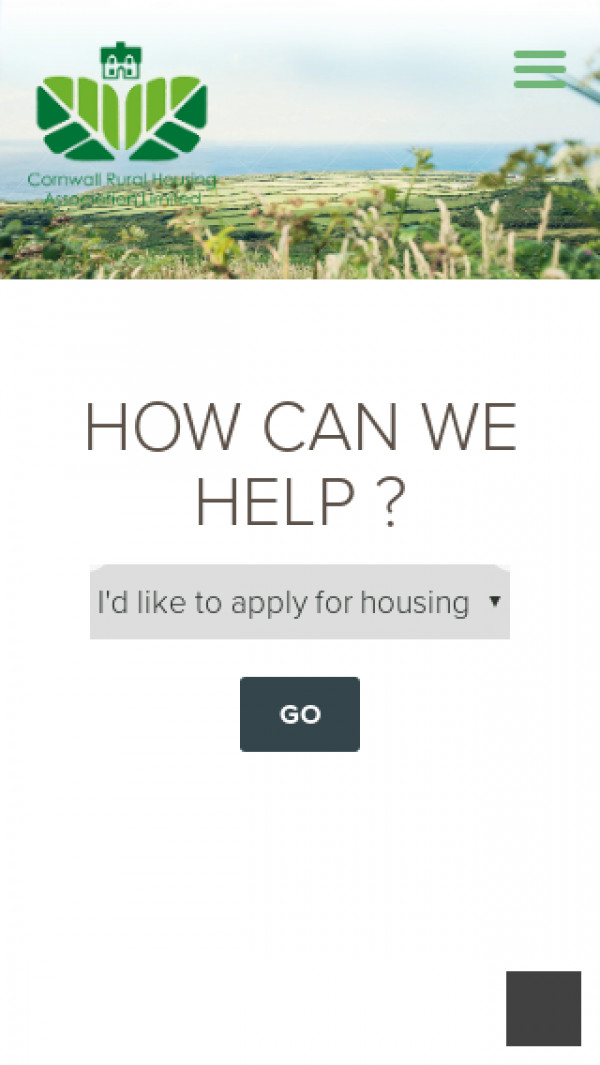 Mobile screenshot of Cornwall Rural Housing Association Limited website