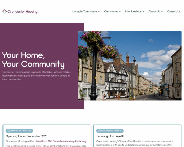 Desktop screenshot of Cirencester Housing Limited website