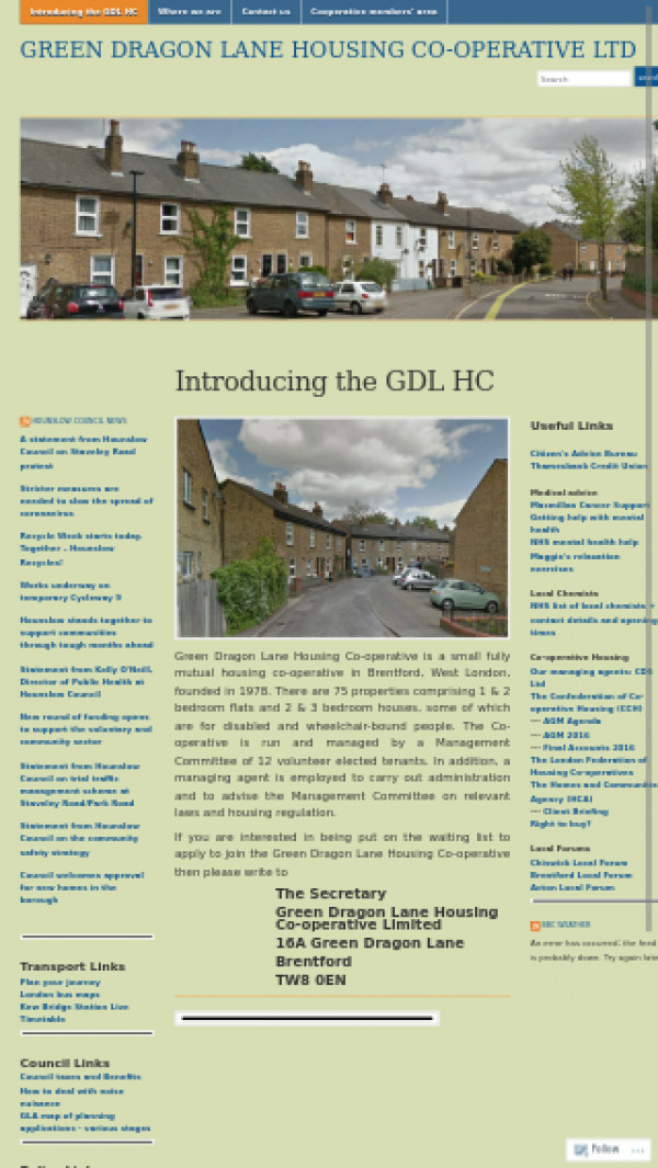 Mobile screenshot of Green Dragon Lane Housing Co-operative Limited website