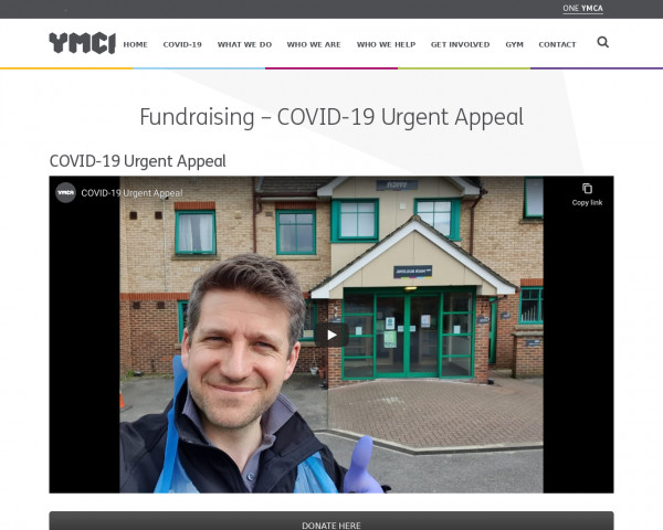 Screenshot of Fundraising - COVID-19 Urgent Appeal - One YMCA