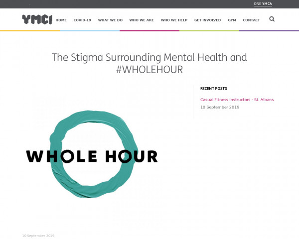Screenshot of The Stigma Surrounding Mental Health and #WHOLEHOUR - One YMCA