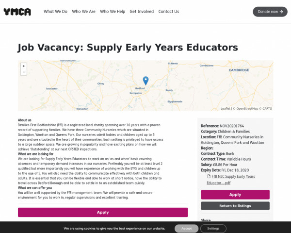 Screenshot of Supply Early Years Educators | One YMCA