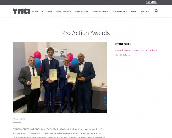 Screenshot of Pro Action Awards - One YMCA
