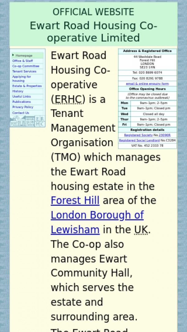 Mobile screenshot of Ewart Road Housing Co-operative Limited website