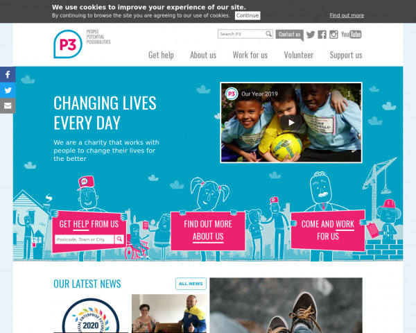 Desktop screenshot of P3 Housing Limited website