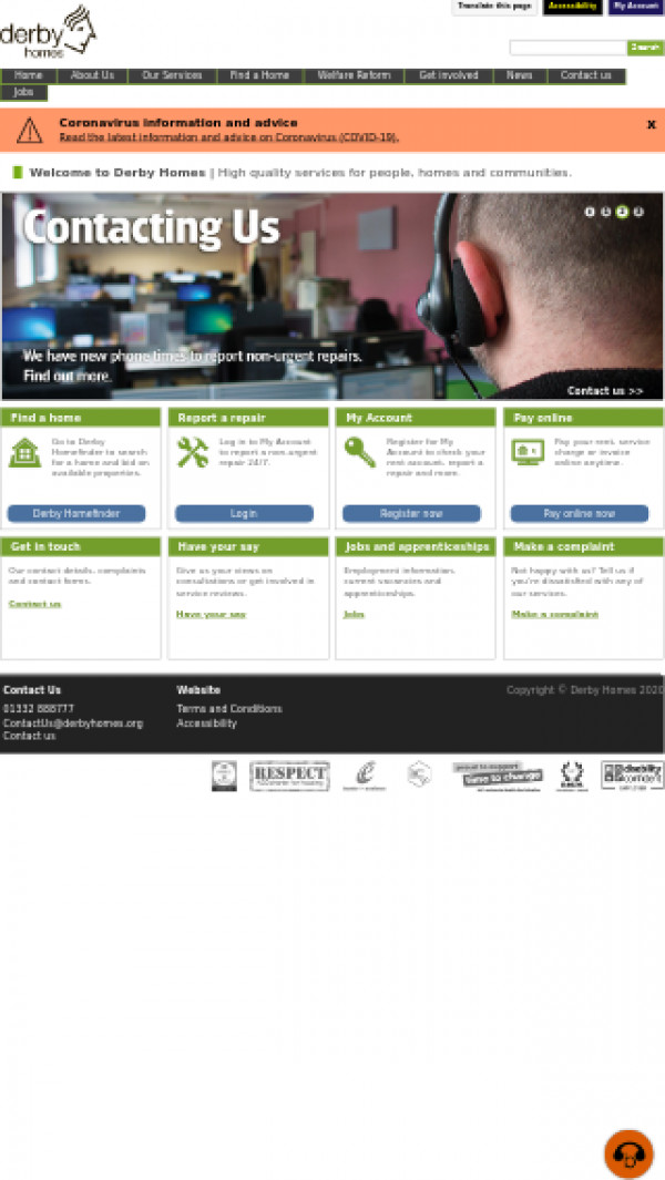 Mobile screenshot of Derby Homes Limited website