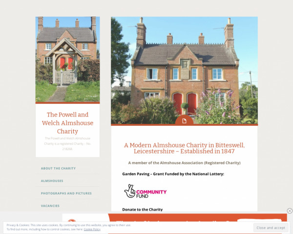 Desktop screenshot of The Powell and Welch Almshouse Charity website