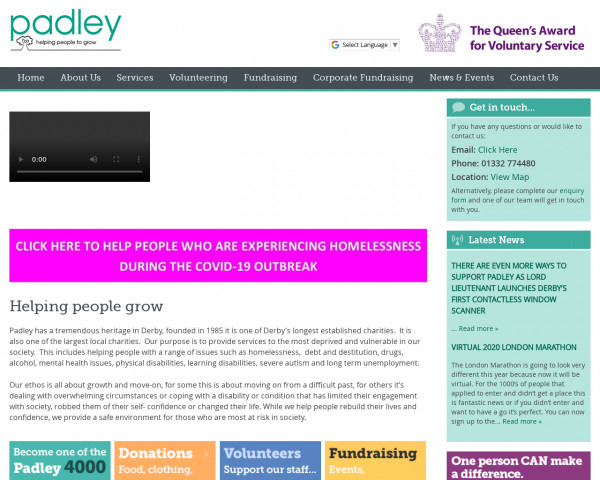 Desktop screenshot of Padley Housing Association Limited website
