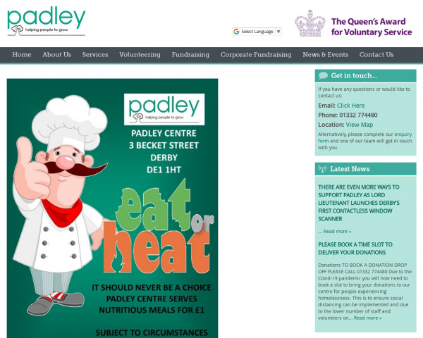 Screenshot of Home Page - Padley Group