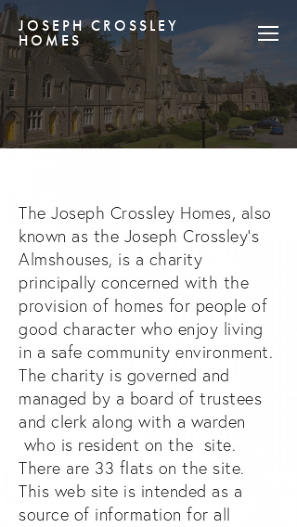 Mobile screenshot of Joseph Crossley's Almshouses website