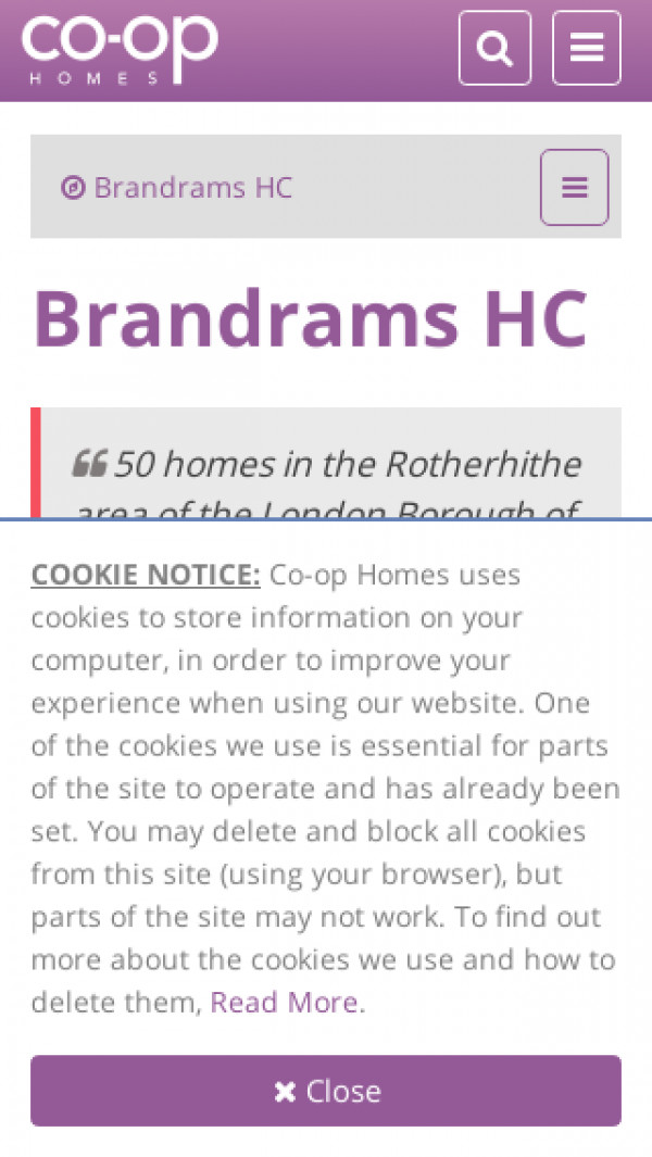 Mobile screenshot of Brandrams Housing Co-operative Limited website