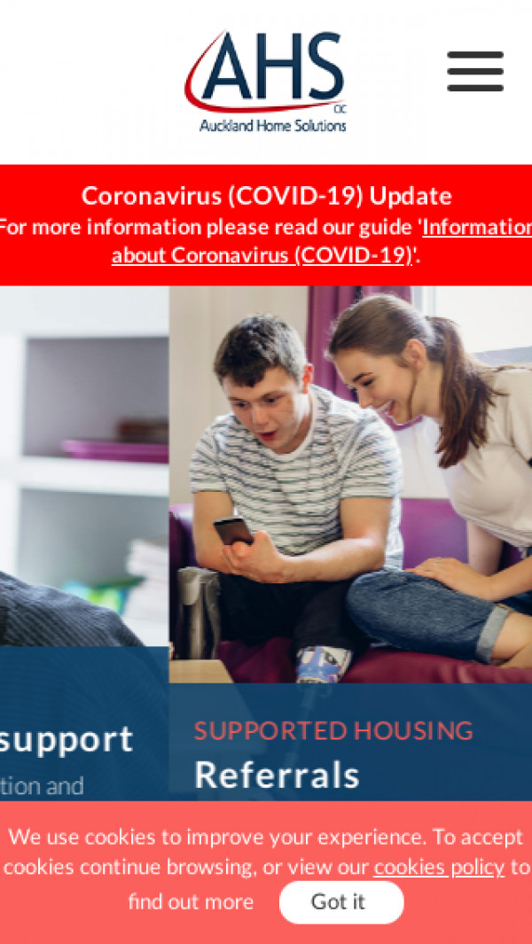 Mobile screenshot of Auckland Home Solutions Community Interest Company website