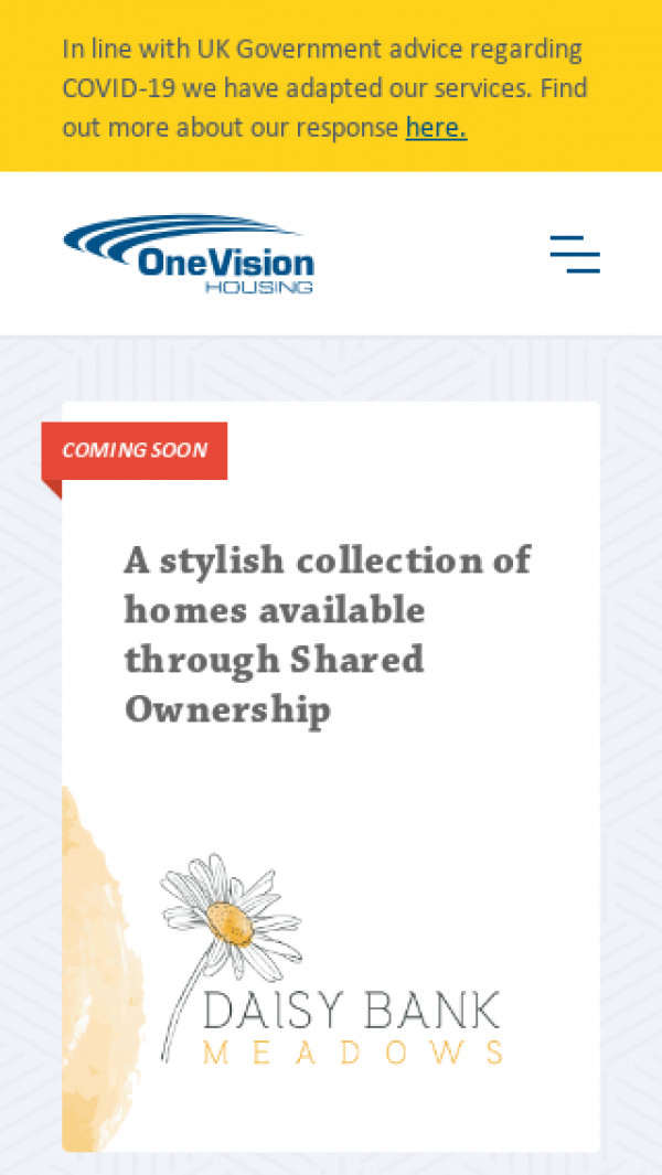 Mobile screenshot of One Vision Housing Limited website