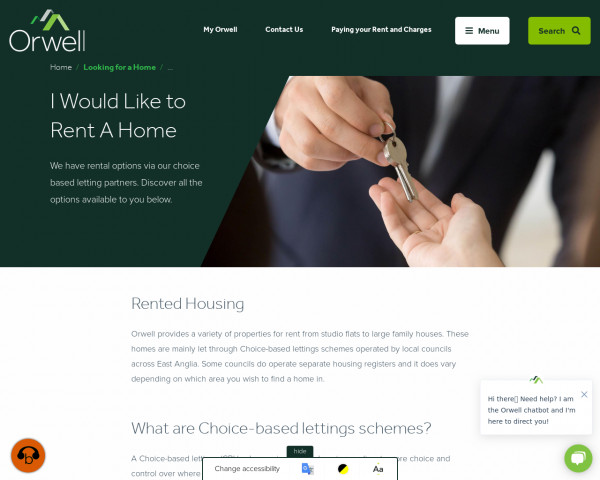 Screenshot of I Would Like to Rent a Home | Orwell Housing