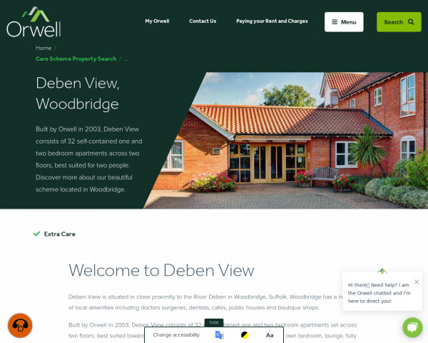 Screenshot of Welcome to Deben View | Orwell Housing